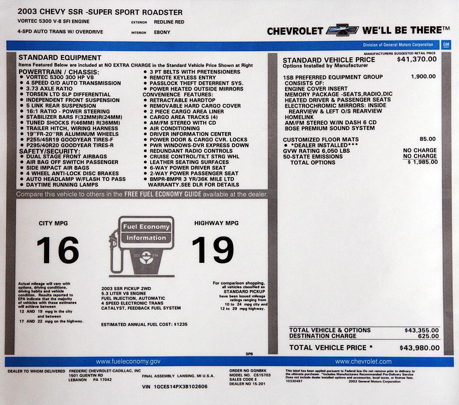 Original Window Sticker - Page 2 - Chevy SSR Forum